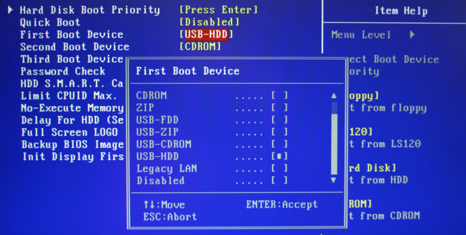 To keep your laptop secure, disable booting from a CD or USB.