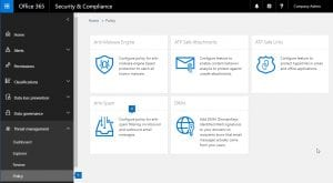 Create policies and control security settings in the Office 365 Security & Compliance Policy Center.